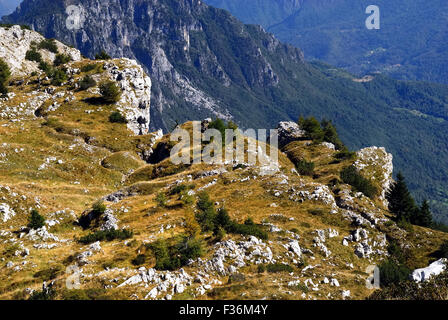 Mount Pasubio, locality Sogli Bianchi,  Veneto Pre-Alps. World War I,  Austro-Hungarian trenches. Mount Pasubio - Stock Photo