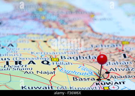 basra pinned on a map of asia stock photo