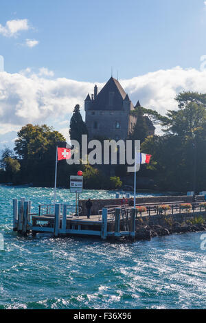 Approaching Yvoire on the ferry from Nyon on Lake Geneva - Stock Photo