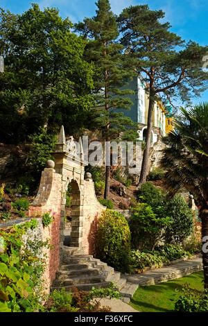 Portmeirion Italianate Village Gwynedd North Wales UK United Kingdom Europe - Stock Photo