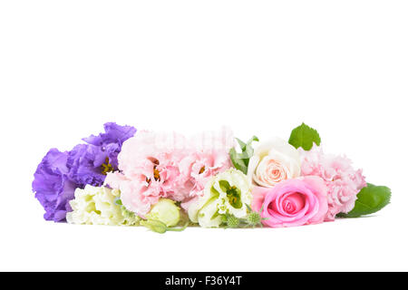 purple and pink carnations and roses isolated on white - Stock Photo