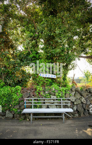 A bench in the Olle trail No. 2 in Jeju Island, Korea. The words above the bench mean 'take a rest here and go'. - Stock Photo