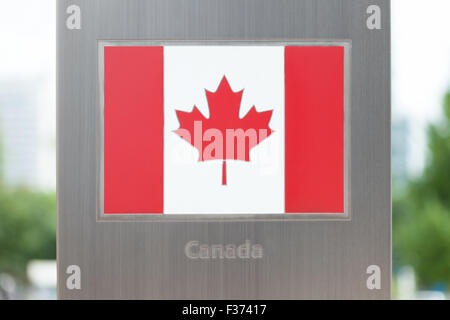 National flags on pole series - Canada - Stock Photo