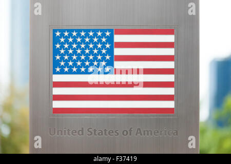 National flags on pole series - USA - Stock Photo