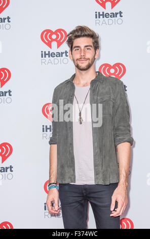 Singer Alvaro Soler attends the 2015 iHeartRadio Music Festival at MGM Grand Garden Arena in Las Vegas - Stock Photo