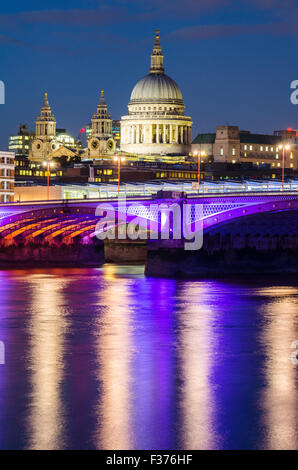 St Paul's Cathedral and Blackfriars Bridge in London - Stock Photo