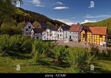 Half-timbered houses in the Open Air Museum, Hagen, Ruhr district, North Rhine-Westphalia, Germany - Stock Photo