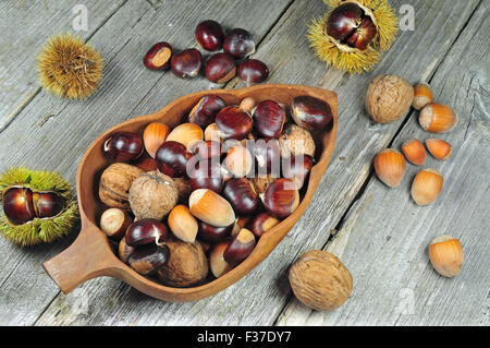 Photo of chestnuts, hazelnuts and walnuts on a wooden table - Stock Photo