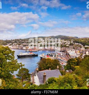 CalMac ferry Clansman leaves Oban harbour, Oban, Argyll and Bute, Scotland, UK. - Stock Photo