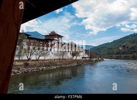 The Punakha Dzong, is the administrative centre of Punakha dzongkhag in Punakha, Bhutan - Stock Photo