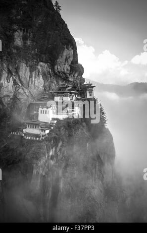 Tigers Nest Monastery (Paro Taktsang) also known as Taktsang Palphug Monastery, in Paro Valley, Bhutan. Taken at - Stock Photo