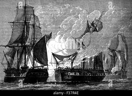 The Battle of Cuddalore was between the British under Admiral Sir Edward Hughes and a slightly smaller French fleet - Stock Photo