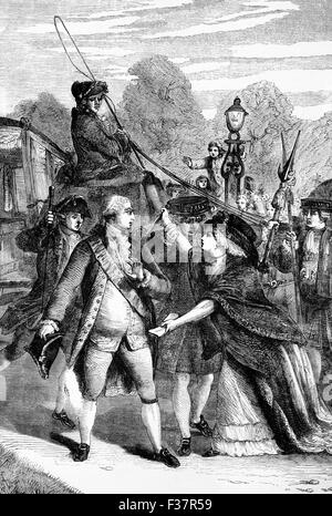 The attempted assassination in 1786 of King George III by  Mrs Margaret Nicholson, who was insane; the King survived. - Stock Photo