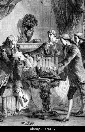 The death of Honoré Gabriel Riqueti, comte de Mirabeau, a French revolutionary, journalist and politician from heart - Stock Photo