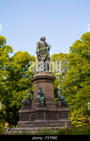 Statue of Carl Linnaeus, Carl von Linne, Humlegården park, Östermalm district, Stockholm, Sweden - Stock Photo
