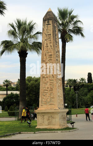 Izmir, Turkey - September 26, 2015: Egyptian obelisk in Izmir Fair, Izmir Egyptian obelisk, Turkey. - Stock Photo