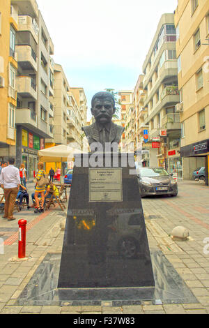 Izmir, Turkey - September 26, 2015: Emiliano Zapata bust in Mexico Street, Izmir, Turkey - Stock Photo
