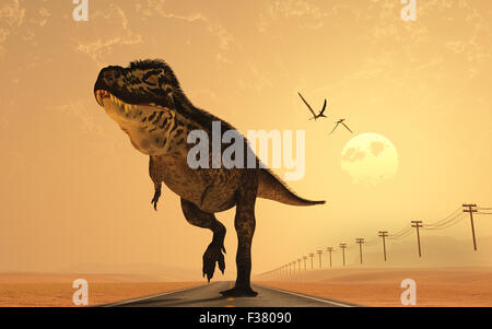 A T.Rex On Route 66. - Stock Photo