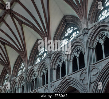 Lichfield Cathedral, nave arcade & clerestory - Stock Photo