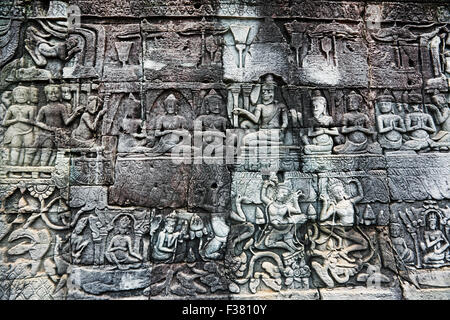 Fragment of bas-relief at Bayon temple. Angkor Archaeological Park, Siem Reap Province, Cambodia. - Stock Photo
