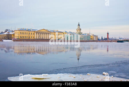 St. Petersburg, Russia, University quay of river Neva in winter, Academy of science, 1783-1789, and Museum of Anthropology - Stock Photo