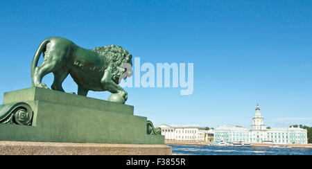 St. Petersburg, Russia - July 03, 2012: sculpture of lion and Museum of anthropology and ethnography (Cabinet of - Stock Photo