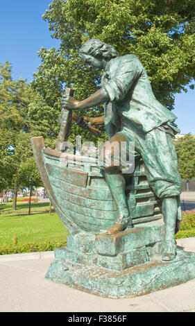 St. Petersburg, Russia - July 03, 2012: monument to king Peter I Great on quay of river Neva, erected in June 27 - Stock Photo