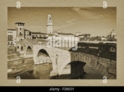 View over the Adige river to old town, Ponte Pietra, San Giorgio in Braida and Santa Maria Matricolare, Verona, - Stock Photo