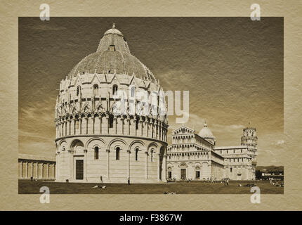View to baptistery, Duomo St. Mary of the Assumption and the Leaning Tower of Pisa, Tuscany, Central Italy, Italy, - Stock Photo