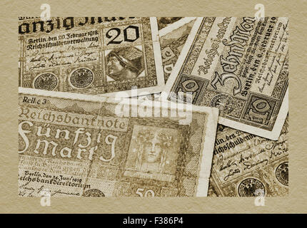 Detail photo of some old German bills from the years 1918-1920 - Stock Photo