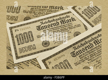 Detail photo of some old German bills of September 15nd 1922 about the amount of one thousand reichsmarks - Stock Photo