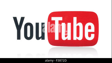 KIEV, UKRAINE - FEBRUARY 05, 2015: YouTube logotype printed on paper. YouTube is a video-sharing website. - Stock Photo