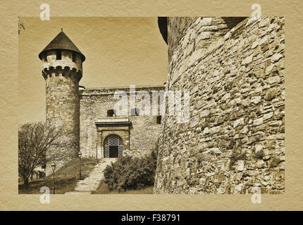 Ferdinands gate and Buzogany torony tower at south round bastion of the Buda Castle, Budapest, Hungary, Europe - Stock Photo