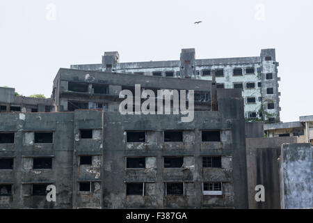 Gunkanjima (Hashima) in Nagasaki, Japan - Stock Photo