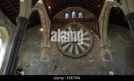 King Arthur's round table Winchester, Hampshire, England - Stock Photo