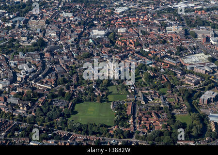 NORWICH CATHEDRAL IN THE CENTRE OF THE PICTURE - Stock Photo