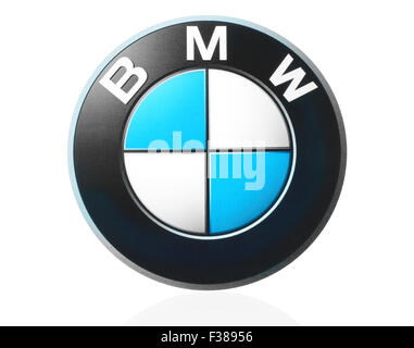 KIEV, UKRAINE - MARCH 21, 2015: BMW logo printed on paper and placed on white background. - Stock Photo
