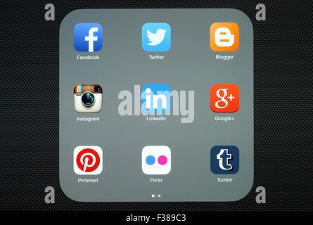 KIEV, UKRAINE - APRIL 27, 2015:Collection of popular social media logos on iPad screen - Stock Photo