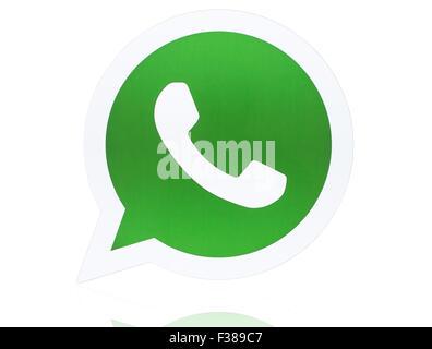 KIEV, UKRAINE - APRIL 27, 2015:WhatsApp Messenger logotype printed on paper. - Stock Photo