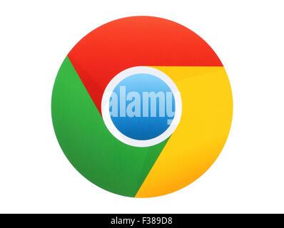 KIEV, UKRAINE - APRIL 27, 2015:Google Chrome logo printed on paper on white background. Google Chrome is a freeware - Stock Photo