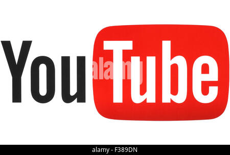 KIEV, UKRAINE - MAY 26, 2015: YouTube logotype printed on paper. YouTube is a video-sharing website. - Stock Photo