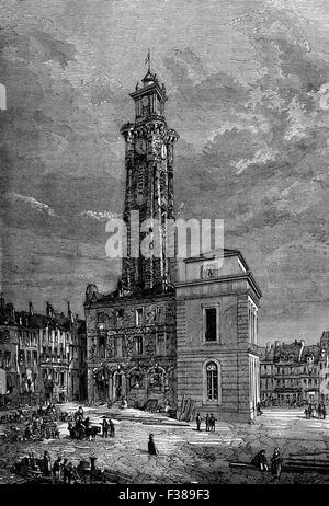 The Belfry of Valenciennes, a town in the Nord department in northern France. Site of a seige, 13 June and 28 July - Stock Photo