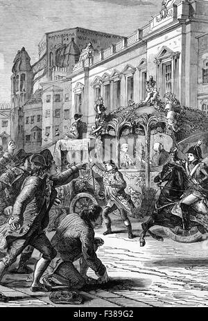 The attempted assassination of King George III on his way to the House of Lords in 1795. The plot involved the use - Stock Photo