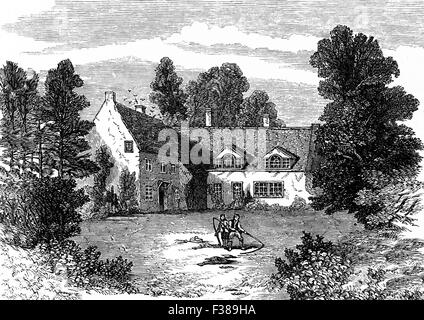 19th Century view of the birthplace of Horatio Nelson, 1st Viscount Nelson,  in Burnham Thorpe, Norfolk, England. - Stock Photo