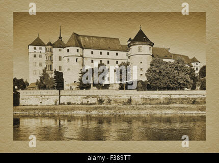 View over the Elbe river to Hartenfels Castle, Torgau, administrative district Northern Saxony, Saxony, Germany, - Stock Photo