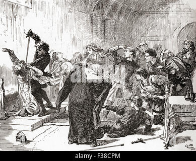 A scene from William Shakespeare's play Hamlet.  Act V, scene 2.  Hamlet:  'The point envenom'd too!  Then, venom, - Stock Photo