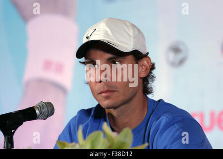 Bangkok Thailand. 1st October 2015. Tennis players Spain's Rafael Nadal during a press conference. Djokovic is set - Stock Photo