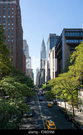 Chrysler Building as seen from the east end of 42nd Street in Midtown Manhattan in New York City - Stock Photo