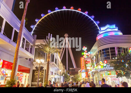 A nighttime view of the High Roller Ferris Wheel in Las Vegas, Nevada. - Stock Photo