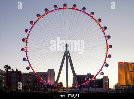 An evening view of the High Roller Ferris Wheel in Las Vegas, Nevada. - Stock Photo